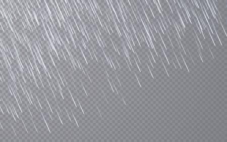 Rain drops on transparent background. Falling water drops. Nature rainfall. Vector illustration. Ilustración de vector