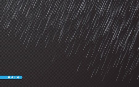 Rain drops on transparent background. Falling water drops. Nature rainfall. Vector illustration. Archivio Fotografico - 139219114