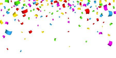 Confettis colorés. Carnaval de célébration tombant des confettis de paillettes brillantes. Carte de voeux de luxe. Illustration vectorielle. Vecteurs