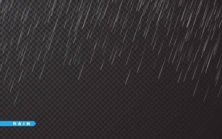 Rain drops on transparent background. Falling water drops. Nature rainfall. Vector illustration. Archivio Fotografico - 139219268