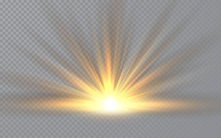 Sunrise. Sunlight special lens flash light effect on transparent background. Effect of blurring light. Vector Illustration. Archivio Fotografico - 139219234
