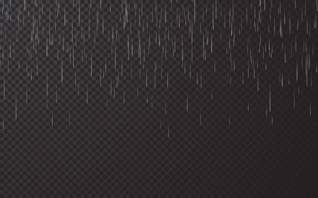 Rain drops on transparent background. Falling water drops. Nature rainfall. Vector illustration.