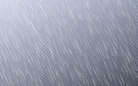Rain drops on transparent background. Falling water drops. Nature rainfall. Vector illustration. Archivio Fotografico - 139219304
