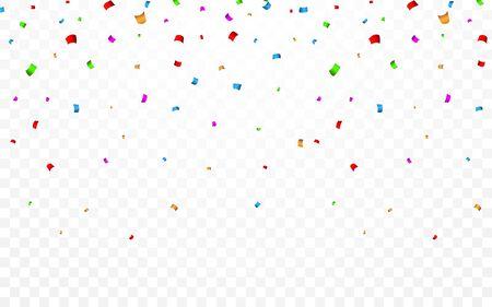 Colorful confetti. Celebration carnival falling shiny glitter confetti. Luxury greeting card. Vector illustration. Archivio Fotografico - 139289428