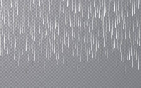 Rain drops on transparent background. Falling water drops. Nature rainfall. Vector illustration. Archivio Fotografico - 139289436