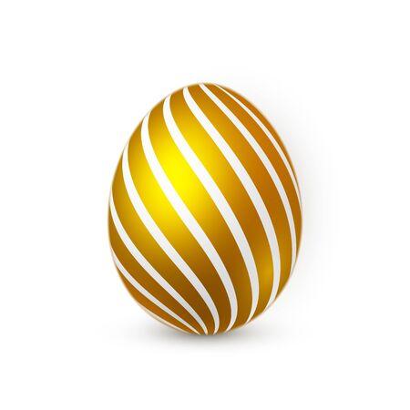 Golden Easter egg on white background. Easter egg for Your design. Vector illustration.