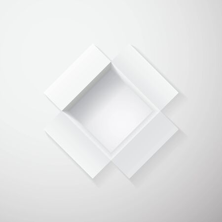 Open white gift box top view. Vector illustration.