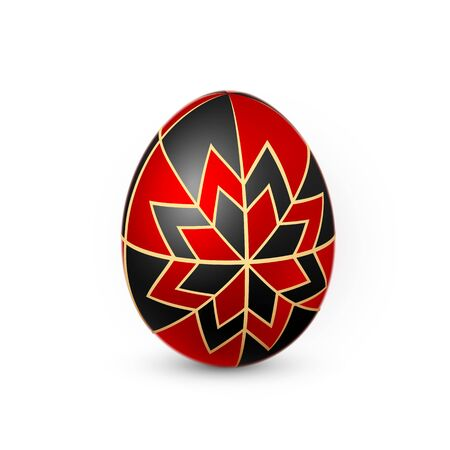 Color Easter egg on white background. Design template. Vector illustration.