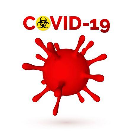 Coronavirus Covid-19, 2019-nKoV. 3d illustration of virus unit. World pandemic concept. Vector illustration.