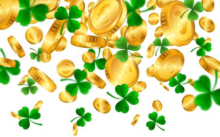Saint Patrick's Day Border with Green Four and Tree Leaf Clovers and gold coins on White Background. Irish Lucky and success symbols. Vector illustration.