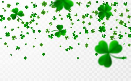 Saint Patrick's Day Border with Green Four and Tree 3D Leaf Clovers. Irish Lucky and success symbols. Vector illustration. Ilustracja