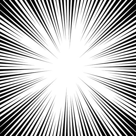 Comic book background. Black and white radial lines speed frame. Element of speed or superhero. Vector illustration.