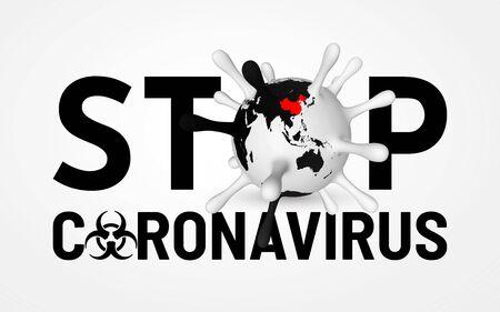 Stop Coronavirus Covid-19, 2019-nKoV. Illustration of virus unit. World pandemic concept. Vector illustration. Ilustracja