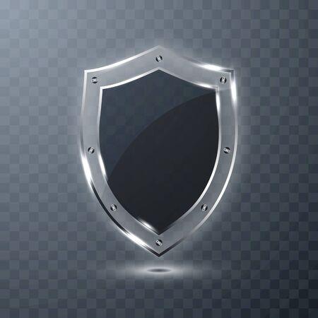 Transparent glass shield on transparent background. Vector illustration.