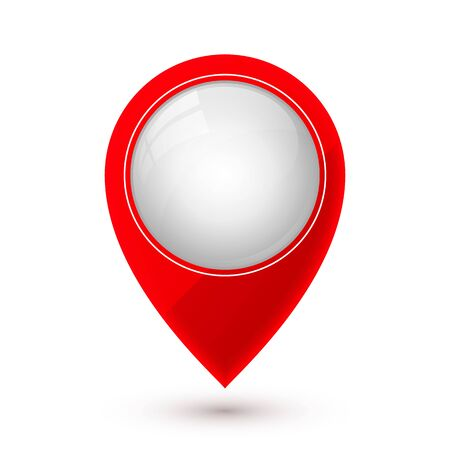 Map pointer icon in flat style with shaddow. Navigator symbol isolated on white background. Vector illustration. Ilustracja