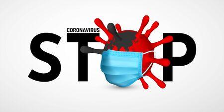 Stop Coronavirus Covid-19, 2019-nKoV. Illustration of virus unit medical mask. World pandemic concept. Vector illustration. Ilustracja