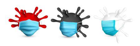 Coronavirus Covid-19, 2019-nKoV. Illustration of virus unit medical mask. World pandemic concept. Vector illustration.