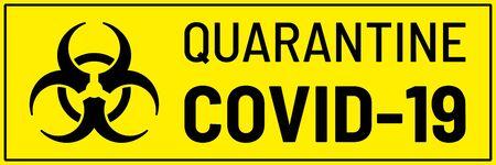 Biohazard sign on yellow background. Concept of epidemic virus and quarantine. Coronavirus Covid-19, 2019-nKoV concept. Vector illustration.