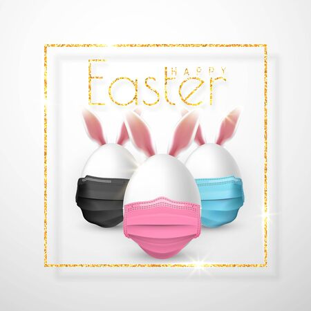 Happy Easter. Easter egg with rabbit ear in medical face mask on white background. Vector illustration.