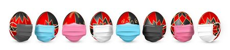 Happy Easter. Color Easter egg in medical face mask on white background. Vector illustration.