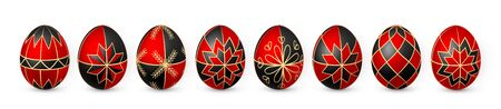 Color Easter egg on white background. Red and black egg paint by beeswax. Vector illustration.