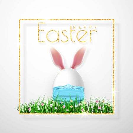 Happy Easter. Easter egg with rabbit ear in medical face mask on white background. Vector illustration. Stockfoto - 143943791
