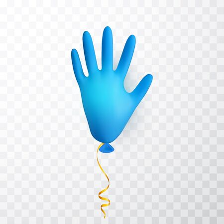 Realistic blue medical latex glove balloon. Shine helium balloon made from medical latex glove. Vector illustration. Stock Illustratie