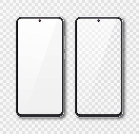 Realistic smartphone mock up set. Mobile phone display isolated on white gray background. 3D template illustration. Vector illustration. Stockfoto - 145552821