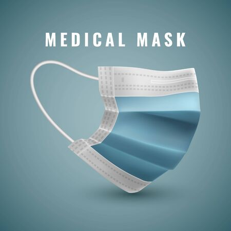 Realistic medical face mask. Details 3d medical mask. Vector illustration. Zdjęcie Seryjne - 145567910