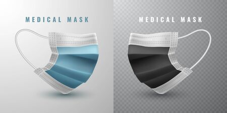 Realistic medical face mask. Details 3d medical mask. Vector illustration. Stockfoto - 145567908
