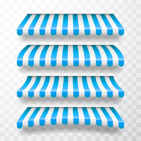Realistic striped shop sunshade. Store awning. Shop tent isolated set. Vector illustration. Reklamní fotografie - 145552970
