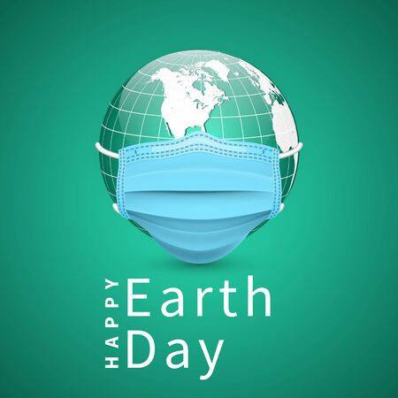 Happy Earth Day. Earth globe in medical face mask. World map set. Vector Illustration. Stock Illustratie