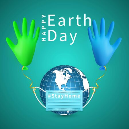 Happy Earth Day. Earth globe in medical face mask and shine helium balloon made from medical latex glove. Vector illustration.