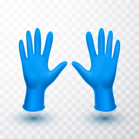 Realistic medical latex gloves. Details blue 3d medical gloves. Vector illustration. Stock Illustratie