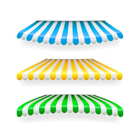 Realistic striped shop sunshade. Store awning. Shop tent isolated set. Vector illustration. Stock Illustratie