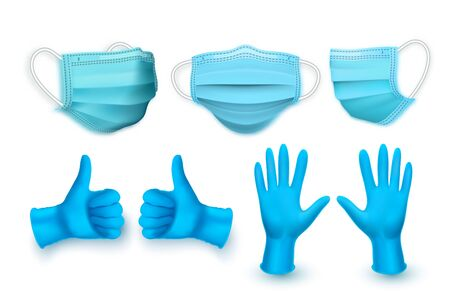 Realistic blue medical face mask and medical latex gloves. Vector illustration.