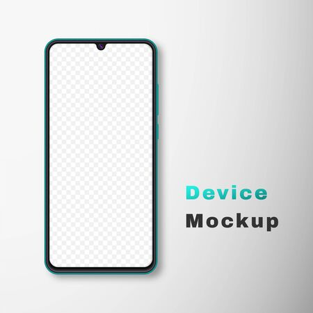 Realistic smartphone mock up set. Mobile phone display isolated on white gray background. 3D template illustration. Vector illustration.