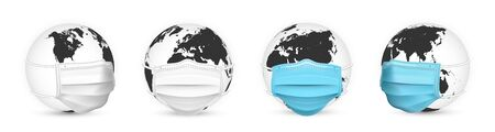 Earth globe in medical face mask. World map set. Vector Illustration. Stock Illustratie