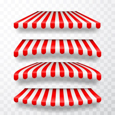 Realistic striped shop sunshade. Store awning. Shop tent isolated set. Vector illustration. Иллюстрация