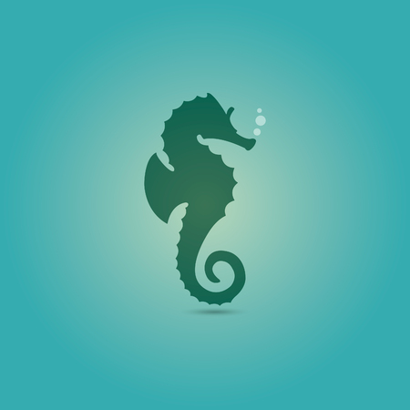 fish form: seahorse icon flat blue