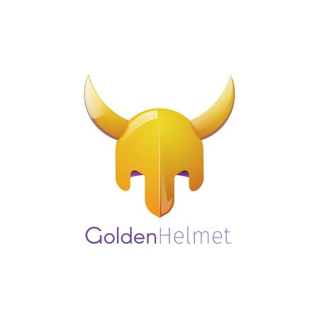 Vector illustration of a Golden helmet with horns