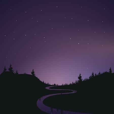Paisagem do céu estrelado do céu noturno. A silhueta da floresta. O reflexo das estrelas no rio. A visão da Terra em um lindo espaço. Ilustración de vector