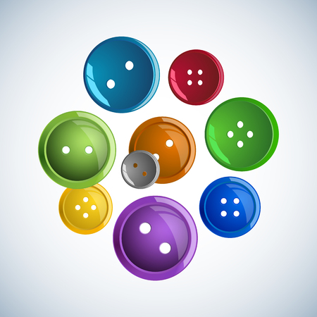 Beautiful colorful glossy buttons clothes on a white background. Simple jewelry items of clothing. Round vector shape Illustration