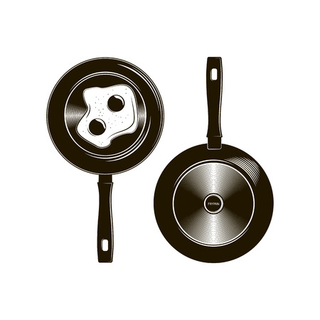 Vector frying pan with long handle described in flat monochrome lines top and bottom. Illustration Of Fried Egg.