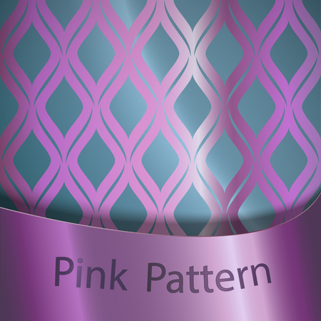 Vector pink silk seamless ornament on a blue background with a pink ribbon.Traditional classical ornament Illustration