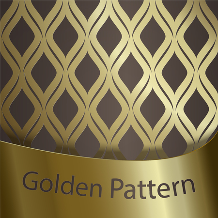 Seamless geometric pattern with gold gradient on brown background.Traditional classic ornament. Gold ribbon with the inscription