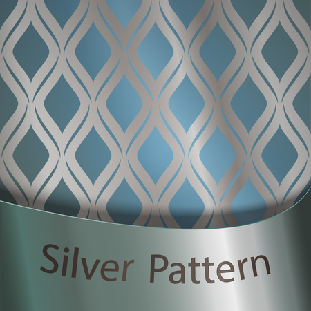 Silver gradient on silk ornament. Blue background. Silver ribbon with the inscription. A recurring element of the decor Illustration