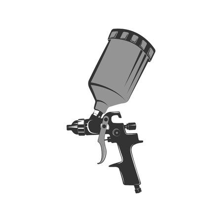 Icono de pistola en estilo retro. Pintura del coche de herramientas. Icono de época monocromo.