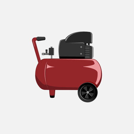 Vector red compressor for car painting and inflating of wheels. Tool for car service center. Stock Illustratie