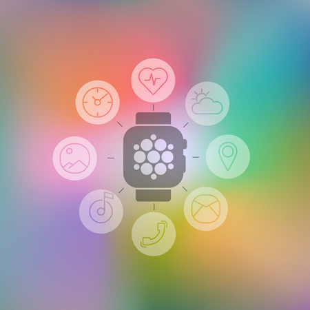Decoration vector illustration concept flat smart watch with set flat round icons for mobile apps and for stores and for web design Illustration
